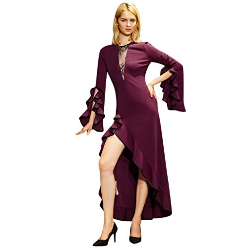 Amazing Deal Alueeu Prom Dresses Bridesmaid Wedding Party Formal Gowns Women's Sexy Long Sleeve Ruff...