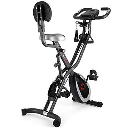 Ultrasport - Bicicleta estática F-Bike 400B con respaldo + cadena, bicicleta fitness, gris oscuro/negro