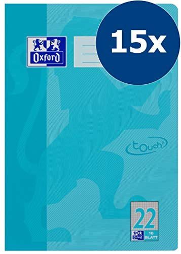 Oxford Touch Schulheft A4, kariert ohne Rand, 16 Blatt, hellblau, 15er Pack