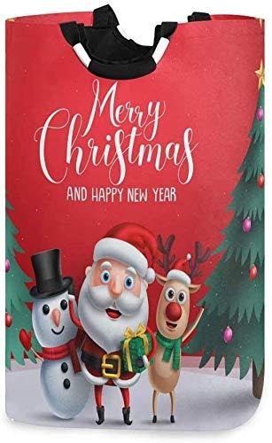 XCNGG Cesta de lavandería Plegable para Navidad Santa Ciervo muñeco de Nieve Cesta de lavandería Plegable Bolsa Grande para Dormitorio, baño, guardería de bebé, Organizador de Juguetes