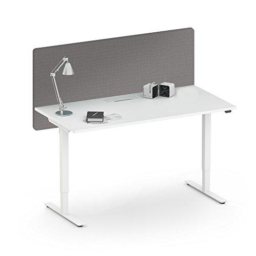 Weber Büroleben GmbH Akustik Tischtrennwand Desk Sichtschutz Lärmschutz Schallabsorbierend Raumteiler, Farbe:GS2 - Grau, Größe:1400x36. H=760 mm