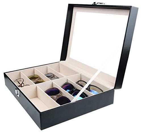Tebery Boîte à lunettes avec vitrine en verre pour 8 paires de lunettes, rangement de lunettes et présentation, en cuir synthétique Noir 33,7 x 24,5 x 8,4 cm (8 compartiments)