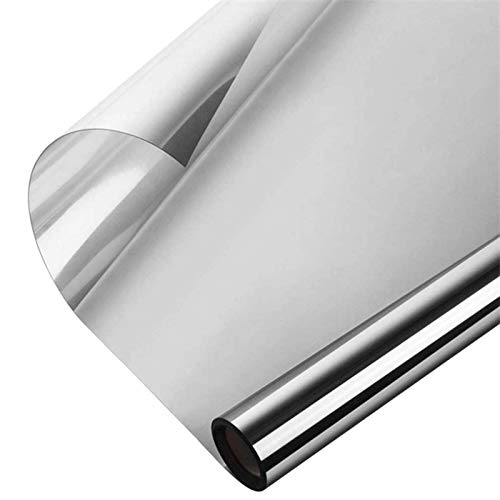 JIAYIDA Lámina de espejo autoadhesiva para ventana, lámina de protección visual anti-UV, para oficina y casa, tintado DXMB01-03 (plata 45 x 200)