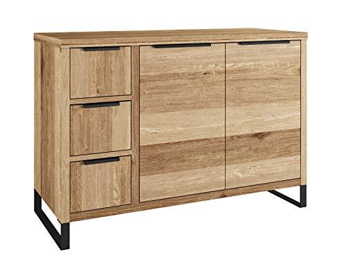 Woodkings® Waschtisch Sydney massiv Holz Waschtischunterschrank Doppelwaschtisch Badmöbel Badezimmer Möbel Unterschrank Badschrank, Metallfuß, auch hängend möglich (Wildeiche, 105x45)
