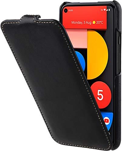 StilGut UltraSlim kompatibel mit Google Pixel 5 Hülle – Pixel 5 Flip Hülle aus Leder, Klapphülle, Handyhülle, Lederhülle - Schwarz Nappa