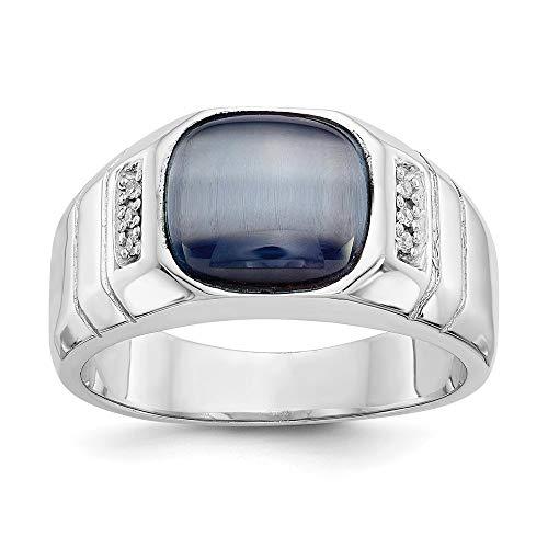 10k White Gold Diamond and Gray Cat's Eye Ring, Size 61 1/2