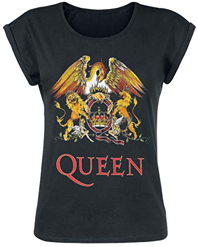 Queen Classic Crest Frauen T-Shirt schwarz M 100% Baumwolle Band-Merch, Bands