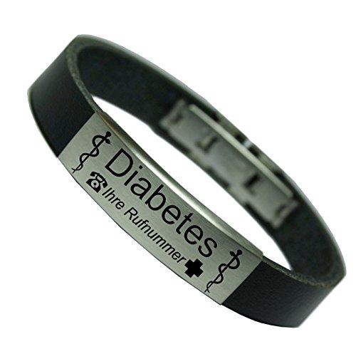 Tinasfunshop Diabetiker Diabetes Typ 1 Typ 2 SOS Notfall ID Echt Leder Armband mit Edelstahl, 24.00 cm Gravurplatte einschließlich Einer Gravur Ihrer Wahl