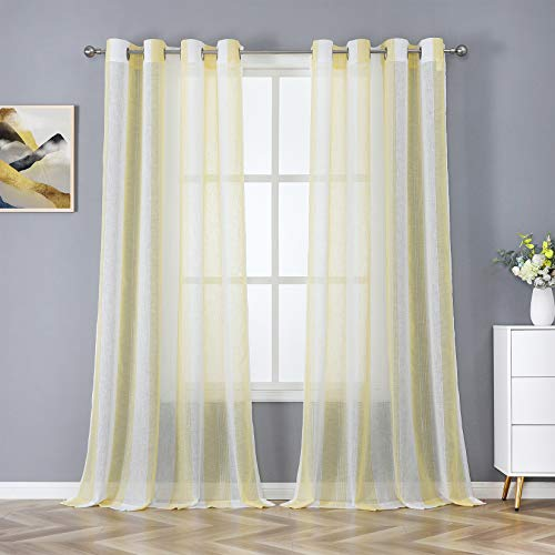 """Haperlare Farmhouse Stripe Sheer Curtains Yarn Dyed Woven Vertical Design Sheer Window Curtains Faux Linen Textured Solid Grommet Voile Drapes for Living Room, 55"""" W x 63"""" L, Yellow/White, 2 Panels"""