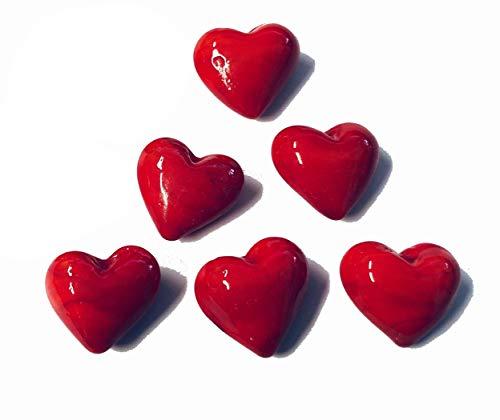 6 rote Herzen zum Valentinstag - Größe 2,5 cm - Glücksbringer für Silvester Geburtstag Hochzeit - WWW.Vienna-Fashion.at - aus Wien –Vienna (586)