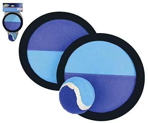 Smart Planet® Klettball-Fangspiel 2 x Fangscheibe Ø ca. 19 cm - 1 Ball Ø ca. 6 cm Klettball Strandspiel Beachball
