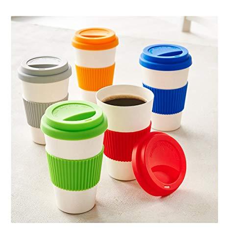PureDay Kaffeebecher, 400 ml Bambus - Silikonbanderole - Grün
