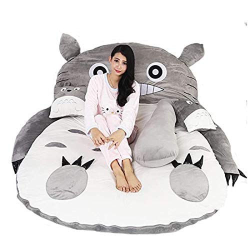 ZBYY Futon Mattress,Tatami Mattress Mats Cartoon Totoro Lazy Sofa Bed Suitable For Children Lovely Creative Dormitory Mattress Foldable Small Bedroom Sofa Bed Chair,200 * 150CM
