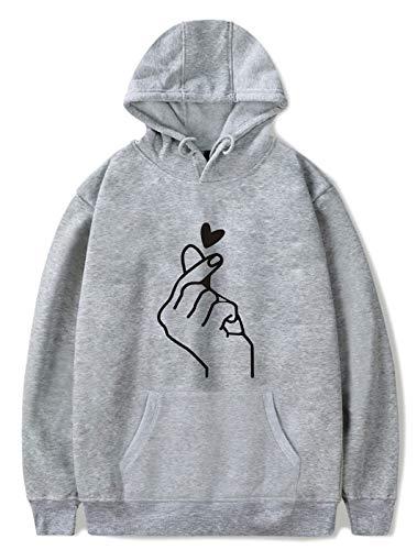 SIMYJOY Unisex Korean Finger Herz Hoodie K-Pop Sweatshirt Casual Style Pullover Langarm Jumper Street Fashion Kapuzenpullover für Männer Frauen Jungen grau L
