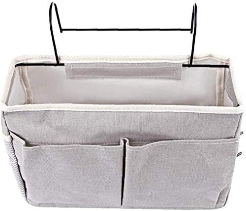 Honyan Nachttisch-Caddy, Nachttisch-Hängeaufbewahrung, Organizer, multifunktional, hängend, Nachttischtasche, großes Fassungsvermögen, Hängekorb, grau