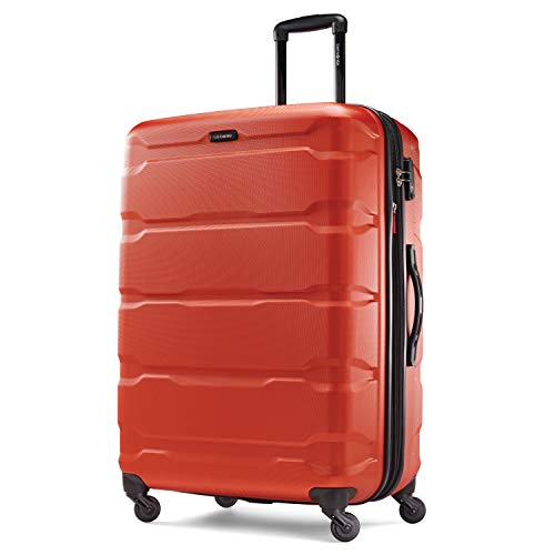 Samsonite Omni PC Hardside Expandable Luggage with Spinner Wheels, Burnt Orange, Checked-Large 28-Inch