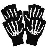 pretyzoom guanti da ciclismo scheletro di halloween guanti mezze dita guanti da costume scheletro cosplay per accessori costume di halloween guanti da ciclismo in osso 2pairs