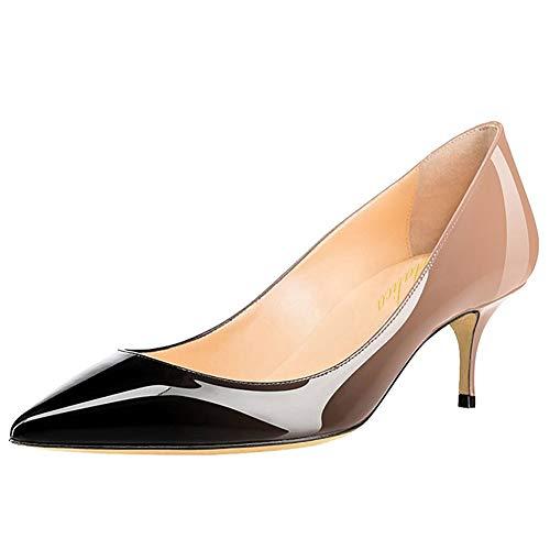 Damen Spitze Lackleder Eleganter Komfort Slip On Kitten Heel Kleid Pumps Schuhe Nackt-Schwarz Größe 37