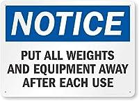 安全標識-通知:使用後はウェイトと機器を片付けてください。インチの金属錫標識UV保護および耐候性、通知警告標識