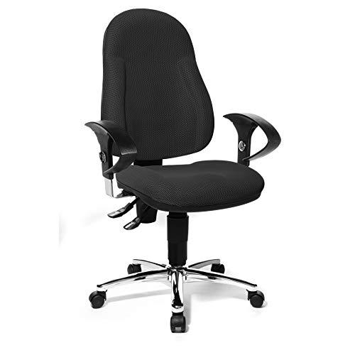 Topstar Wellpoint 10 Deluxe, ergonomischer Bürostuhl, Schreibtischstuhl, Muldensitz, inkl. höhenverstellbare Armlehnen, Stoffbezug schwarz