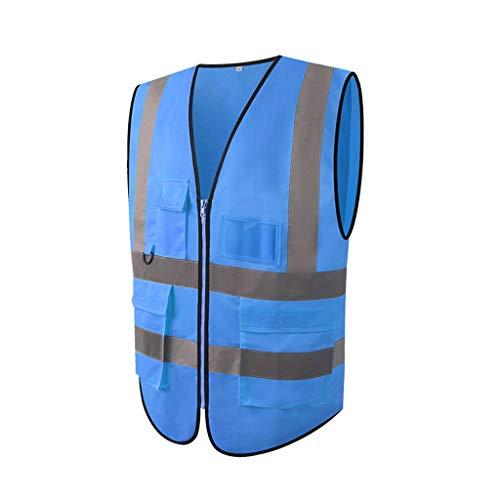NZQLJT Chaleco Trabajo Chaleco Reflectante Sitio de construcción Conductor del tráfico Chaleco Amarillo de Seguridad Chaqueta Patrulla de Seguridad (Size : Blue)