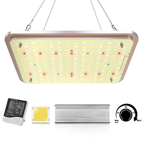 LED Grow Light Dimmable, TS-1000W Full Spectrum Grow Light for Indoor Plants Seeding Veg and Flower - Thermometer Humidity Monitor, Adjustable Rope and Glasses Included (New Version)