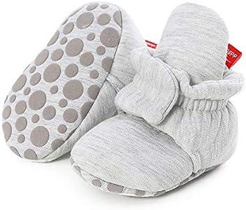 Botas de Niño Calcetín Invierno Soft Sole Crib Raya de Caliente Boots de Algodón para Bebés (0-6 Meses, D_ Gris Claro, Tamaño de Etiqueta 11)