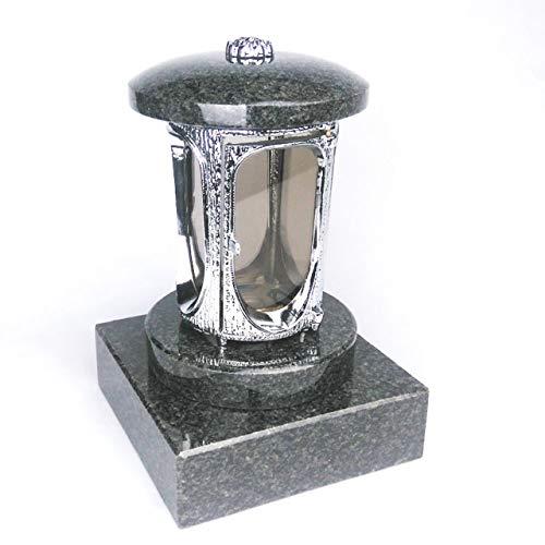 designgrab Tombe Lampe avec socle en granit 20 x 20 x 5 cm, chromé en aluminium en aluminium et Granit Nero Impala Noir/Anthracite/Astor/Afrique