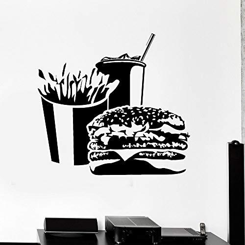 Decoración Tienda de desayuno Burger Calcomanía de pared Papas fritas Soda Puertas y ventanas Pegatinas de vinilo Snack Bar Restaurante de comida rápida Decoración de interiores Papel tapiz