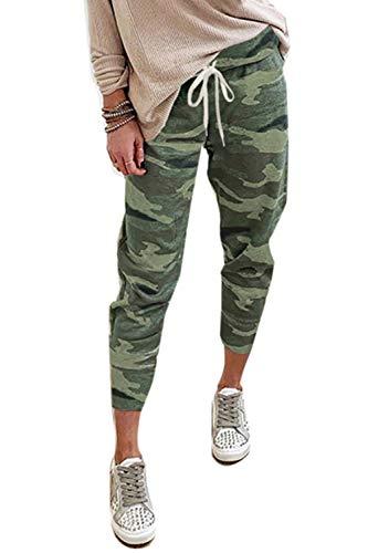 Petitdelphine Damen Beiläufig Sweatpants Camo Hervorhebung Taille Loslassen Sport Laufend Lounge Hose Grün XL