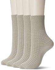 [癒足] (癒足) 日本製4足セット 婦人口ゴム無しゆったり綿混リンクスクルー 49911-990 レディース