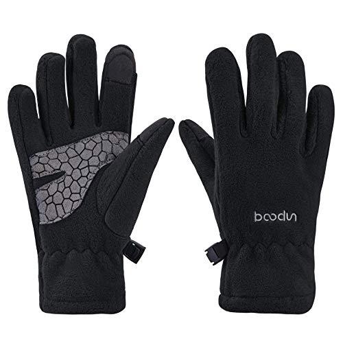 Arcweg Handschuhe Kinder Fleece Warm Laufhandschuhe Winter Gloves rutschfest Fahrradhandschuhe Touchscreen Winterhandschuhe Jungen Mädchen Fingerhandschuhe Sport Outdoor Camping Laufen Schwarz L/XL