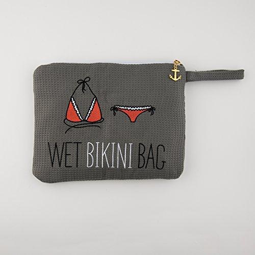 Damen Bestickter Waffel Wet Bikini Bag Grau