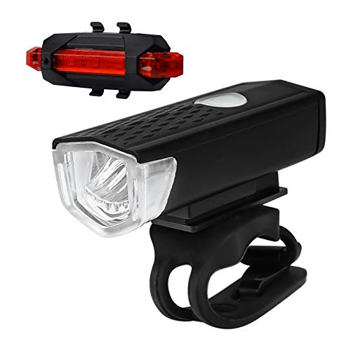 Deilin USB Rechargeable Bike Light Set, Super Bright Front Headlight and Back LED Rear Bicycle Light for Road Cycling Safety Flashlight