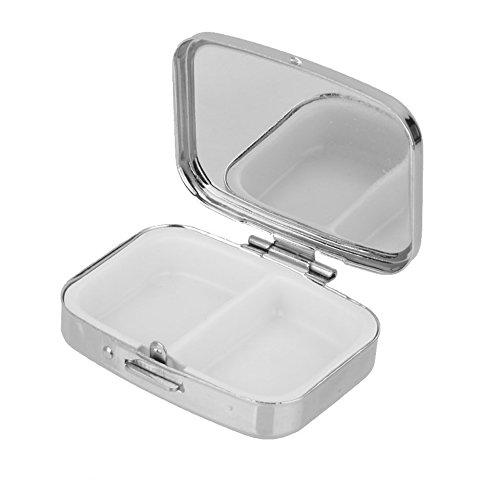 Gespout Caja de Píldora Cuadrada Caja de Píldora de Metal Caja de Píldora de Viaje Caja de Almacenamiento de Contenedor de Medicina(Plata)