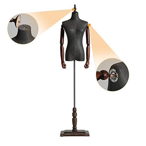 LSM Schneiderpuppen Schwarze Torso-Schaufensterpuppen mit Armen, Freistehende Weibliche Kleiderform, Halbkörperverstellbarer Puppenständer für Kleidungsschmuck (Color : Style 3, Size : S)