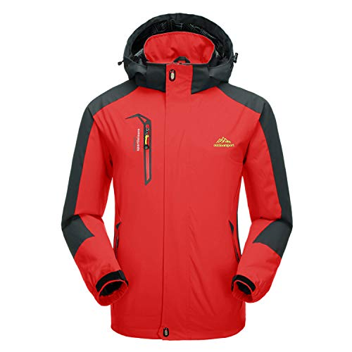 CRYSULLY Men Fall Water Resistant Outdoor Sports Stylish Travelling Hood Fishing Jacket Coat Red