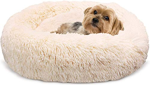 Docatgo Extra Amazingly Luxury Soft Fluffy Comfort Pet Dog Cat Rabbit Bed Beds Pillow House 23X23 inches, Waterproof Machine Washable Fur Cushion for Small,Medium Animals(Round) 、Poof Marshmellow