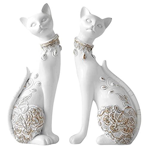 H HILABEE Pequeño Adorno de Estatua de Gato de Pareja Sentada, Figuras Coleccionables de Diseño Simple Moderno, Hecho de Escultura de Resina - Armario - Blanco, Individual