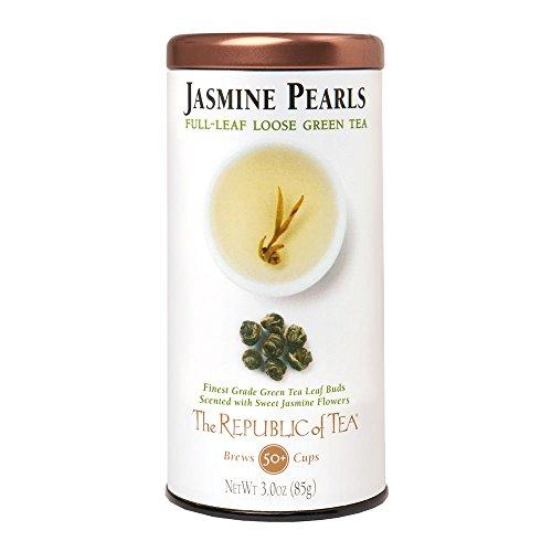 The Republic of Tea Jasmine Pearls Full-Leaf Tea, 3.0 Ounces, 50 Cups, Premium China Green Tea Blend