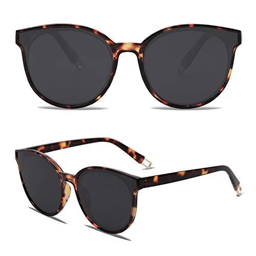 SOJOS Runde Sonnenbrille Damen UV-Schutz Groß Fashion Design SJ2057 mit Demi Rahmen/Grau Linse