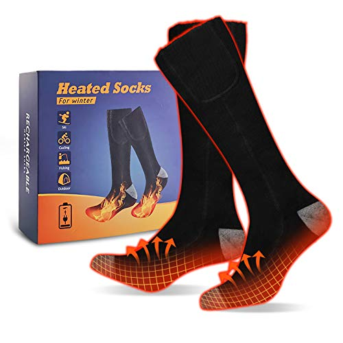 Muudee Electric Heated Warm Socks - Rechargeable Battery Cotton Heating Sock Thermal Foot Warmer Cold Winter Outdoor for Women & Men