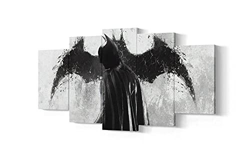 WKXZZS Movie d'action Batman Super Hero Tableau Murale Impression sur Toile Intissee 5 Parties,Tableaux, Posters et Arts Décoratifs 200x100cm