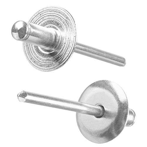 Pop Rivet With Large Flange, Steel Mandrel/Aluminum Body, 3/16 x3/8 Inch (4,8x10 mm), Flange Diameter: 5/8(16 mm), Blind Rivet Grip Range 1/8-3/16 Inch (3-5 mm), Qty:100 pcs