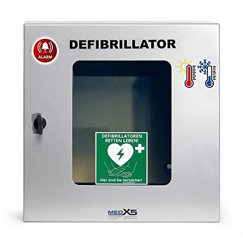 MedX5 (Upgrade 2019) Defibrillator (AED) Außen-Wandkasten, Universal mit Alarmen, Belüftung, Heizung und Beleuchtung