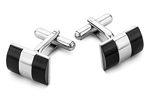 MIORE Herren-Manschettenknöpfe hochwertiger Edelstahl Onyx schwarz CM012
