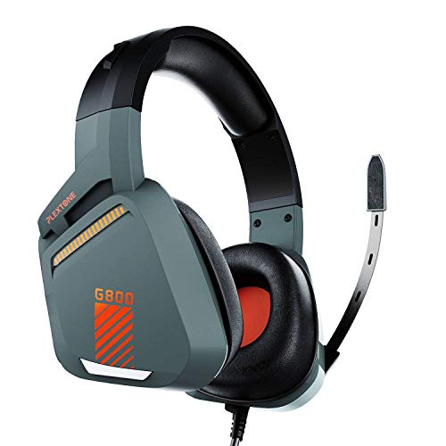 Plextone G800 Gaming Headset, Over-Ear Headphones with Volume Controller, Retractable Microphone, Deep Bass and HD Sound Quality, All Device Support (Grey), 2.2m (G800-GR)