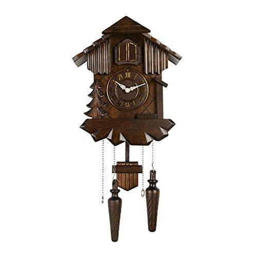 Reloj de Pared Creativo Reloj de Pared de Cuco Europeo Retro Sala de Estar Reloj de péndulo de Madera Maciza Reloj de Pared para Sala de Estar (Color : A, Size : 54 * 27CM)