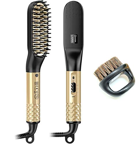 Kaarii Beard Straightener Brush for Men, Electric Quick 2 in 1 Hair Straightener Comb, Multifunctional Heat Hair Beard Brush Styler with Dual Voltage 110-240V Home Use and Travel, Perfect Valentine's Day Gift for Family / Friend