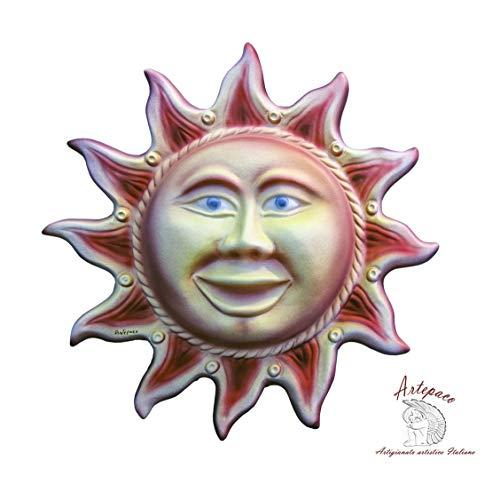 ARTEPACO - Sole, Decorazione da Parete, in Ceramica, Abbellimento Casa e Giardino, Diametro 30 cm